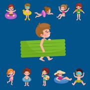 Girl and boy in swimsuit isolated, kids summer vacation Stock Illustration