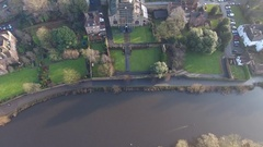 Tilting aerial view of Worcester Cathedral, UK. Stock Footage