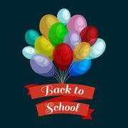 Holiday banners with colorful balloons. Back to school concept card  text vector Stock Illustration