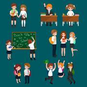 Vector illustration of happy children doing different fun activities at sch.. Stock Illustration