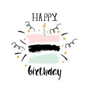 Creative Happy Birthday greeting background. Hand drawn ink borders, Vector.. Stock Illustration