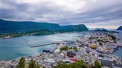City of Alesund Norway Stock Footage