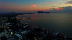 Aerial view of prachuapkhirikhan harbor sun rising sky southern of thailand Stock Footage