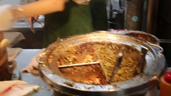 Chinese meat bun being served at night market, Taipei, Taiwan Stock Footage