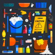 Vector set of cleaning tools. Flat design style. Stock Illustration