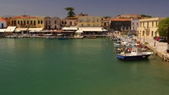 FISHING BOATS HARBOUR RETHYMNON CRETE GREECE Stock Footage