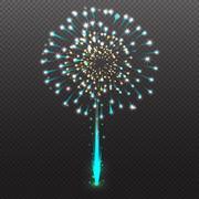 Set Festive Firework Salute Burst on Transparent Background vector illustrati Stock Illustration