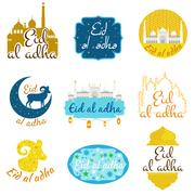 Vector holiday named Eid Al Adha Festival of Sacrifice label. lettering com.. Stock Illustration