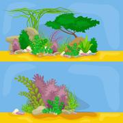 Set isolated colorful corals and algae, Vector underwater flora, fauna. Stock Illustration
