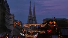Vienna Christmas Market, Detail of Votivkirche, slow motion Stock Footage
