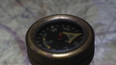 An antique compass swinging to North Stock Footage