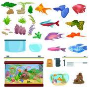 Fish tank, aquarium with water, animals, algae, corals, equipment Piirros