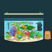 Aquarium fish, seaweed underwater, tank isolated on dark background Stock Illustration
