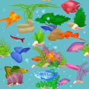 Aquarium fish, seaweed underwater seamless pattern vector illustration Stock Illustration