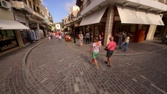 COBBLED SHOPPING STREET RETHYMNON CRETE GREECE Stock Footage