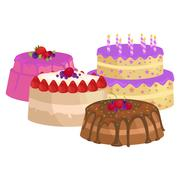 Sweets cakes with different stuffing, chocolate dessert vector illustration s Stock Illustration