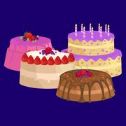 Vector cake icon set, Birthday food, sweet dessert, isolated illustration. Stock Illustration