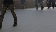 View of walking people legs at the street in daylight Stock Footage