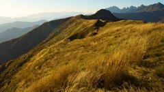 Yellow autumn grass swaying in the wind, Golden mountain hills on a Sunny day Stock Footage