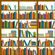 Library, bookstore - Seamless pattern with books on bookshelves. Stock Illustration