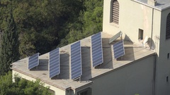 4K Aerial view solar panel on private house alternative electric power rooftop Stock Footage