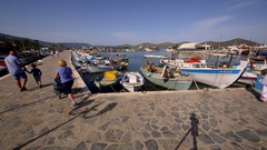 FISHING BOATS IN HARBOUR ELOUNDA CRETE GREECE Stock Footage