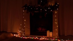 New year and Christmas celebration near fireplace Stock Footage