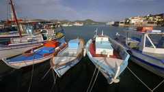 PLEASURE BOATS IN HARBOUR ELOUNDA CRETE GREECE Stock Footage