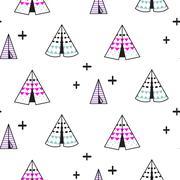 Wigwam kid vector seamless pattern Stock Illustration