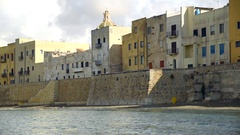 Trapani walls of Tramontana with blur effect. Stock Footage