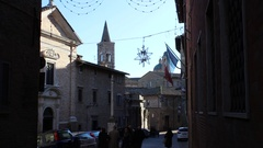 Partial view of the steeple of San Francesco's Church, city of Urbino, Italy Stock Footage