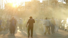 Boca Fans Arriving at the Bombonera Stock Footage