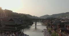 Fenghuang Ancient Town at Sunset Stock Footage