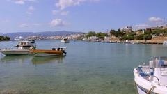 PLEASURE SPEED BOATS AGIOS NIKOLAOS CRETE GREECE Stock Footage