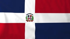 Flag of Dominican republic waving in the wind, seemless loop animation Stock Footage