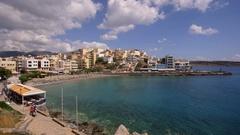 EASTERN BAY BEACH SEA AGIOS NIKOLAOS CRETE GREECE Stock Footage