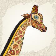 Hand drawn Illustration of ornamental boho giraffe. African animals Piirros