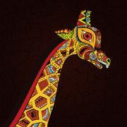 Hand drawn Illustration of ornamental boho giraffe. African animals Stock Illustration