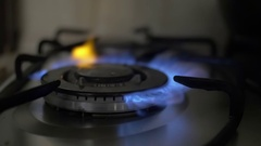 Setting fire on a gas burner Stock Footage