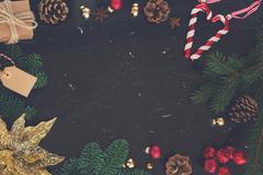 Christmas flat lay styled scene Stock Photos