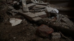 Rubble inside abandoned cathedral Stock Footage