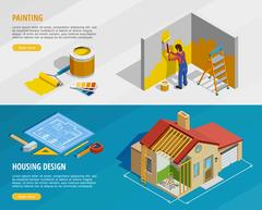 Home Renovation Isometric Horizontal Banners Stock Illustration