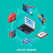 Online Trading Isometric Round Composition Stock Illustration