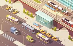 City Transport Isometric Illustration Piirros