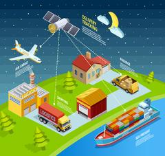 Logistic Network Template Stock Illustration