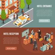 Hotel Entrance Reception 2 Isometric Banners Stock Illustration