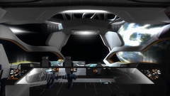 Spaceship creative fictional command room. Stock Footage