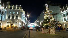 Wonderful Christmas decoration in London - time lapse shot Stock Footage