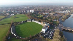 Aerial view of Worcester Cricket Ground, UK. Stock Footage