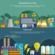 Environmemtal pollution and power plant banner Stock Illustration